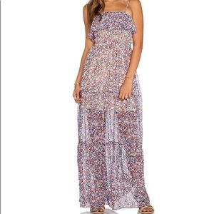 BCBG generation tiered coral combo maxi dress.
